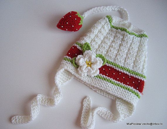 Knitted baby girls hat with cute knitted strawberry/ by MiaPiccina, $28.00
