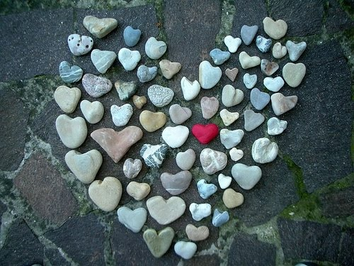 A pretty collection of heart-shaped stones