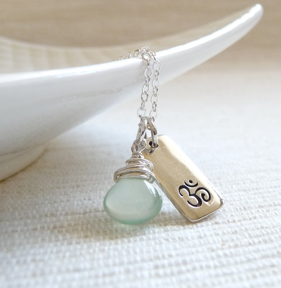 Sterling Silver Om Charm and Pale Chalcedony by karinagracejewelry, $40.00