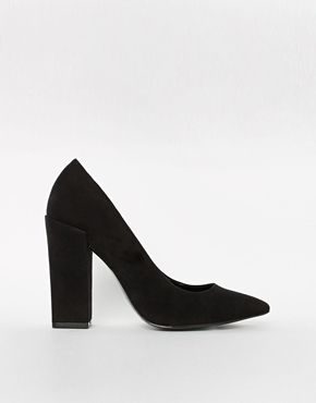 River Island Black Block Heeled Pumps