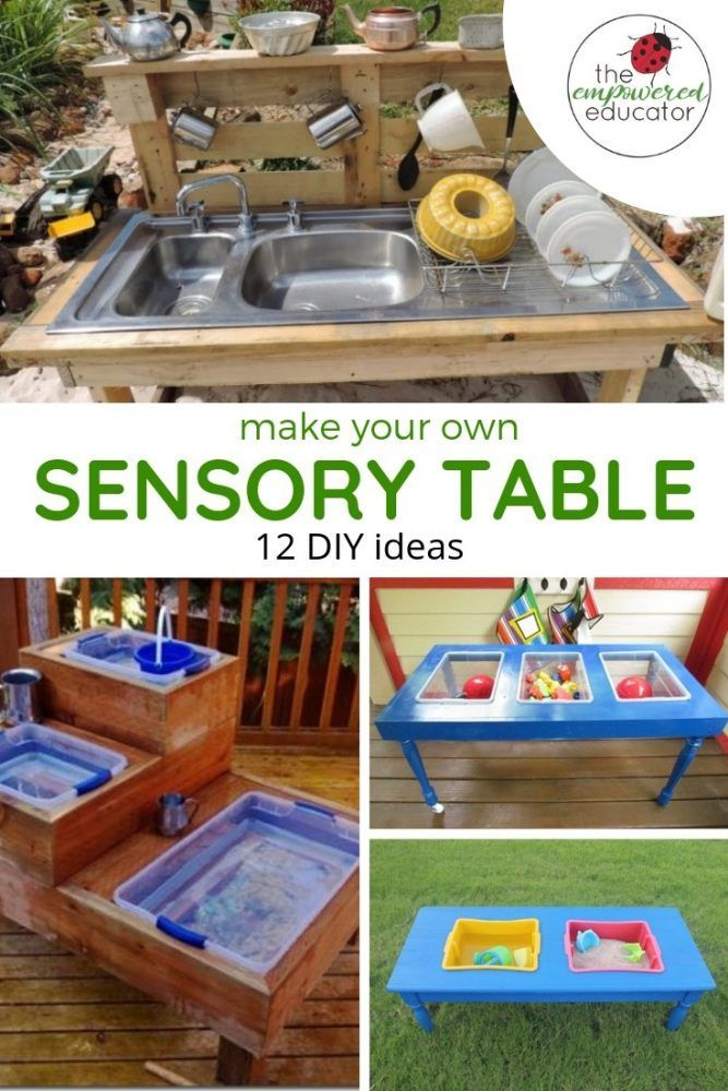 How To Build Your Own Water Sand Sensory Table For Play Sensory Table Sensory Bins Water Table Diy
