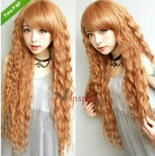 30 Inches Long Curly Blonde Fashion Harajuku Party Wig