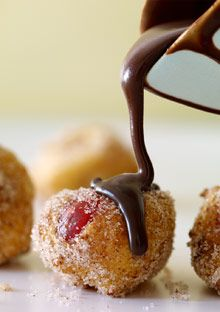 Cherry-Ricotta Doughnut Holes with Chocolate Sauce - Oprah.com