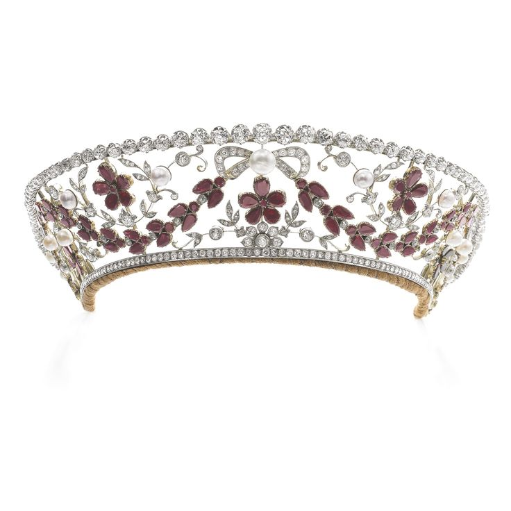 Garnet, natural pearl, cultured pearl and diamond tiara, 1930s Sotheby's