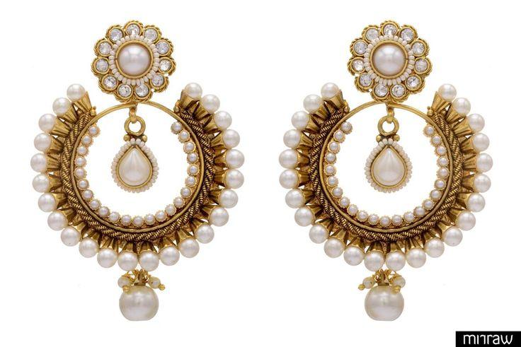 Beautiful golden stone studded earrings