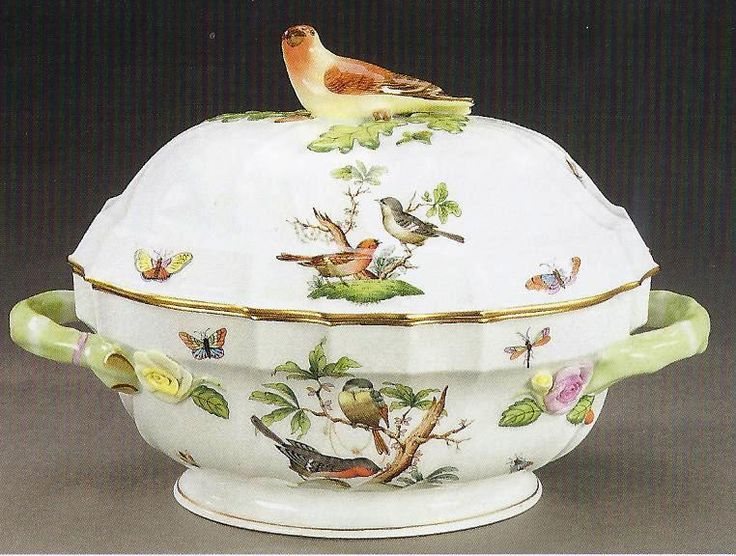Herend Porcelain Soup Tureen Rothchild Bird Pattern