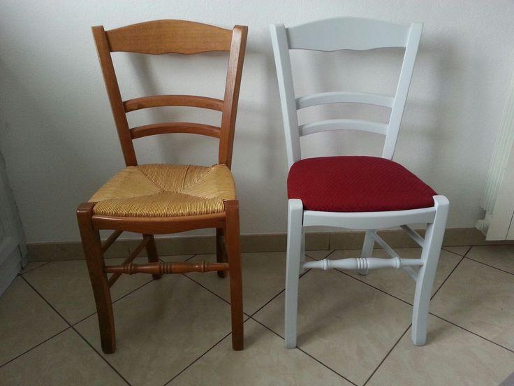 Relooking chaise en paille. Dessus en paille conservé et ...