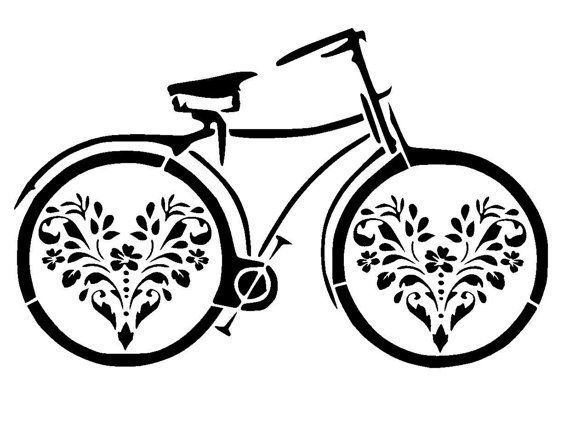 5.8/8.3 vintage bicycle stencil 2. A5 by LoveStencil on Etsy #vintagebicycles