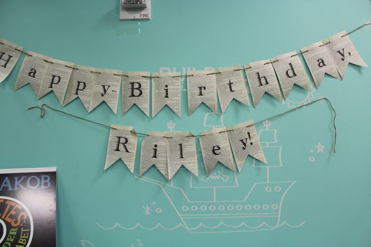 Recycled Book Pages Birthday Banner