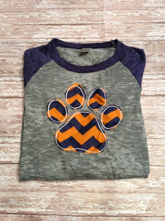 Auburn Tiger Paw Women's Baseball T-shirt with Appliquéd Chevron Paw on Etsy, $29.00