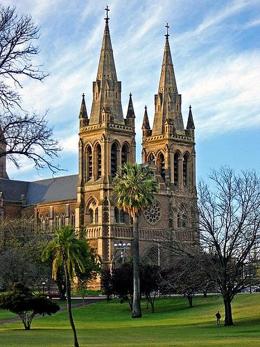 Construction on St. Peter's Cathedral in Adelaide began in 1869 and wasn't complete until 1901. The Anglican Cathedral has many different faces, the most famous of which resembles the Cathedral of Notre Dame.