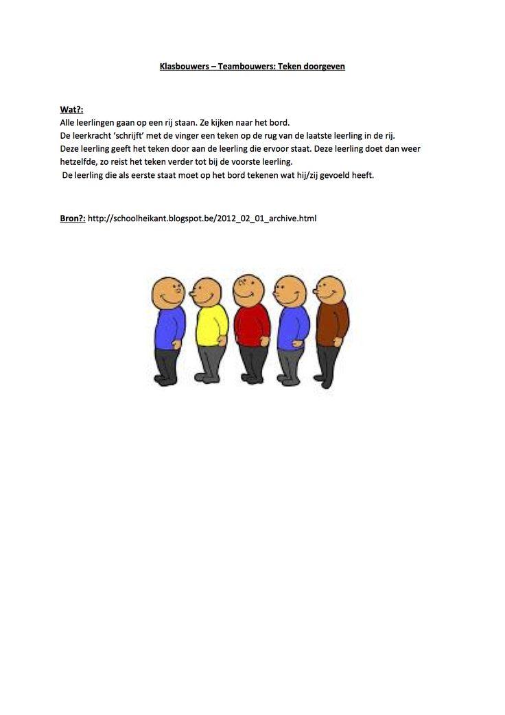 Klasbouwers - teambouwers : teken doorgeven