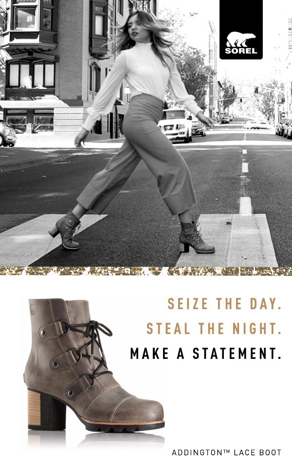 Bold. Beautiful. Addington's 70s-inspired heels were born to make a statement. Rise for fall with Sorel.
