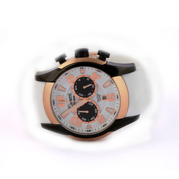 Chrono Cassetti steel watch case diameter mm. 47 with a black and rose trim PVD treatment