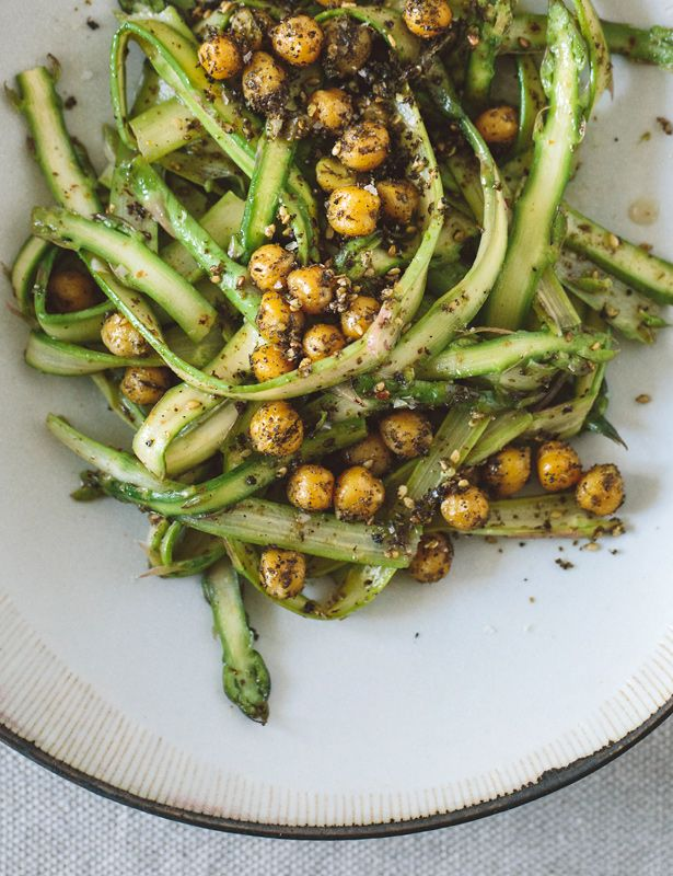 asparagus salad with roasted chickpeas.