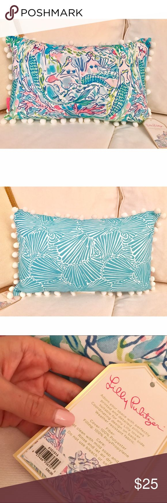 """NWT Lilly Pulitzer Mermaid Pillow Indoor Or Outdoor Use Pillow in Mermaid Print. Coordinating Blue & White Shell Print On Back. Measures 20"""" W x 12"""" H. Lilly Pulitzer Accessories"""