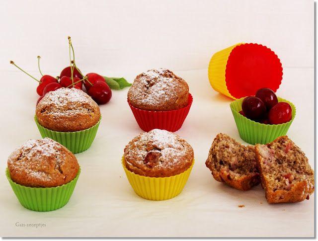 Cseresznyés-diós muffin.