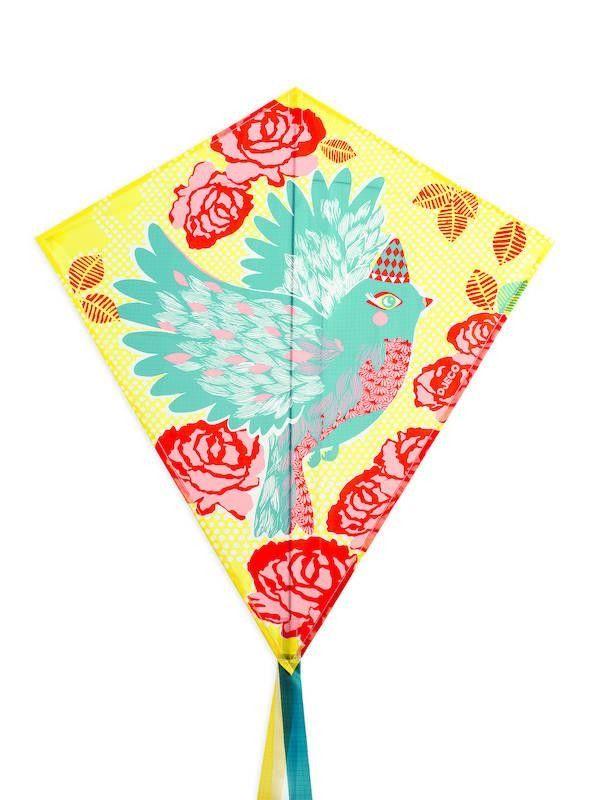 Djeco : Cerf volant / Oiseau et fleurs (corde incluse) - Castello   Jeux et Jouets