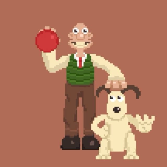 Day 14: Wallace and Gromit!  This one was on a tight deadline so not much animation. But still, gotta love Wallace and Gromit ;) #pixel #pixels #pixelated #rjslagter #gif #vidoftheday #instadaily #instaartist #artist #animation #motion #designlife #wallace #gromit