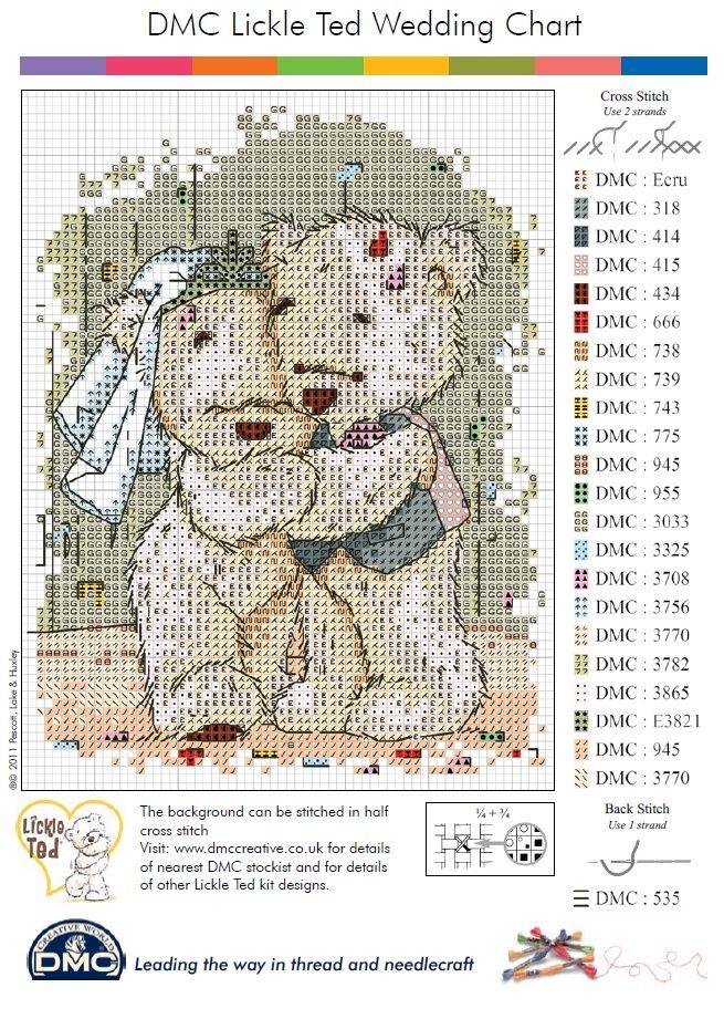 Wedding Teddy Cross Stitch Pattern