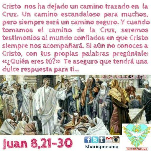 """Del Santo Evangelio según san Juan 8,21-30  En aquel tiempo, dijo Jesús a los fariseos: """"Yo me voy y me buscaréis, y moriréis por vuestro pecado. Donde yo voy no podéis venir vosotros."""" Y los judíos comentaban: """"¿Será que va a suicidarse, y por eso dice: """"Donde yo voy no podéis venir vosotros""""?"""" Y él continuaba: """"Vosotros sois de aquí abajo, yo soy de allá arriba: vosotros sois de este mundo, yo no soy de este mundo. Con razón os he dicho que moriréis por vuestros pecados: pues, si no creéis…"""