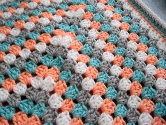Crochet peach teal gray and white granny square by ArrayOfCrochet