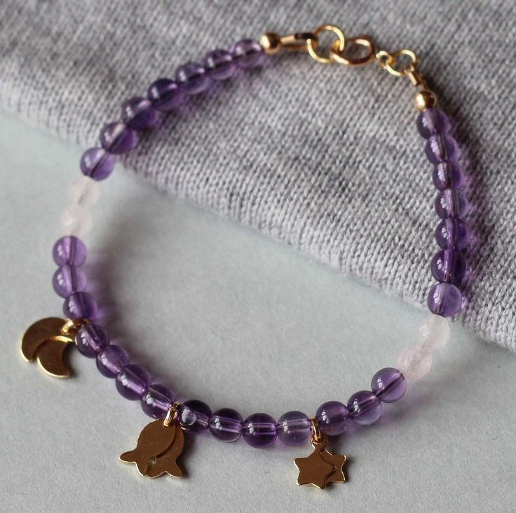 Amethyst and Rose Quartz Gemstones with Gold Filled Charms Girl's Bracelet by ILgemstones on Etsy