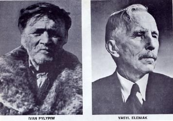 First Wave of Ukrainian Immigration to Canada, 1891-1914. Ivan Pylypiw and Vasyl Eleniak, the first two Ukrainian immigrants to Canada.  1891. Ivan P. settled in Edmonton, Alberta and not sure of Vasil Eleniak.