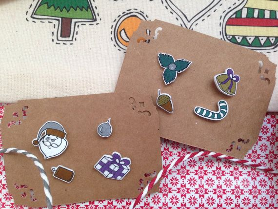 4 super cute handmade pins. Theyre made with metallic colours.  This pack includes a snowman, a present, a candle and Christmas ornament pin!