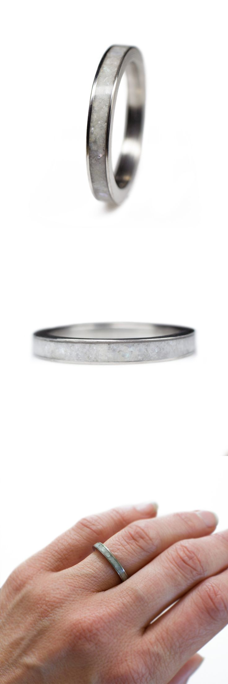 A Titanium Ring Inlaid With Mother Of Pearl