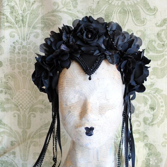 Gothic Black Flower Crown with Crystals
