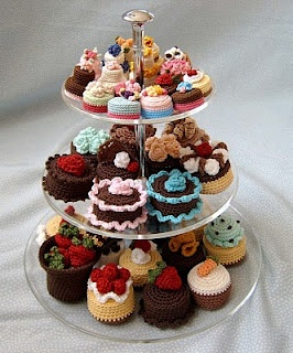 I hope to have enough crocheted cakes to display like this someday