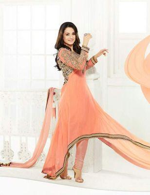 Orange Georgette Dress material