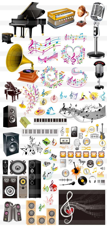 ピアノ・オルガン・スピーカー・音符・鍵盤