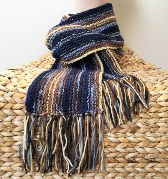 Hand knitted men's scarf Tasseled scarf Men's by justknitted1
