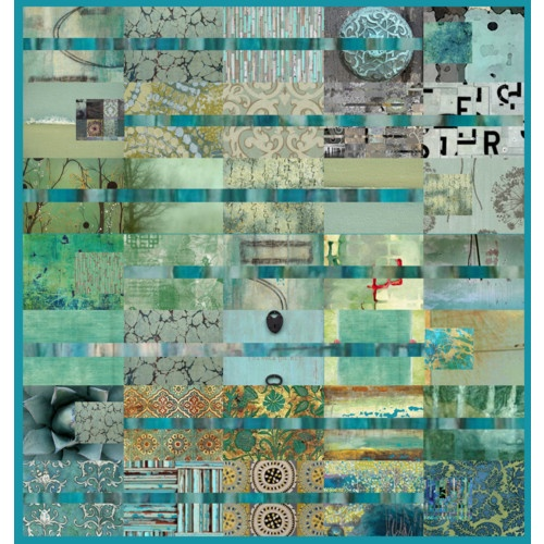 Teal Tomorrow #collage #quilt #art #teal #blue #seafoam