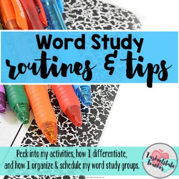 Grab your Word Study handbook to get all the info on my word study activities, routines, and the schedules that I've used in my classroom for years. I've developed a 7-day cycle system and differentiation strategies that really work for my students. I've shared that with you in this handy downloadable e-book.