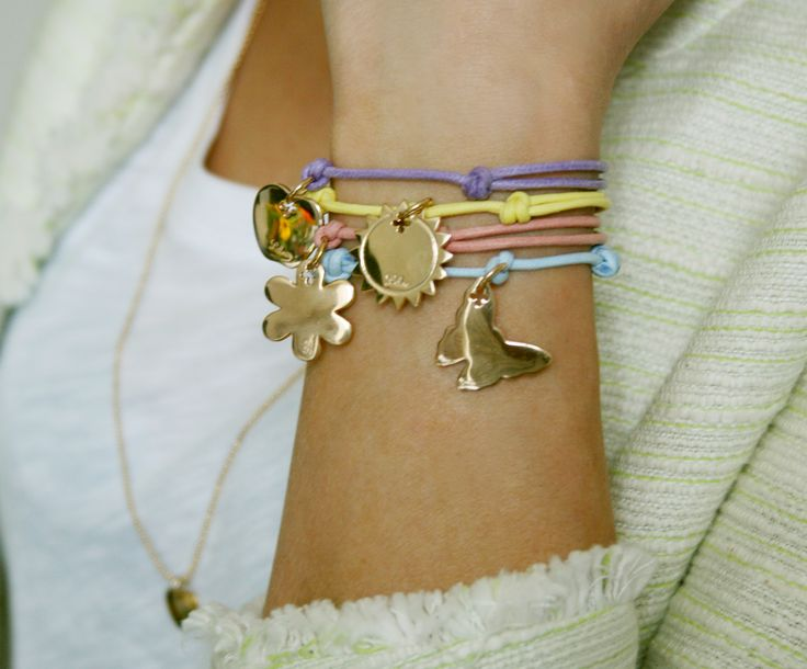 Colourful bracelet! Create your own! Choose your favourite colour of string and a special engraving to personalize bracelet! http://lilouparis.com/en/configurator/bracelets/  #lilou #bracelet #strings #butterfly #jewellery #sun #flower