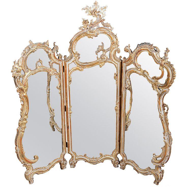 A 19th Century Italian Gilt wood Three-Piece Mirror or Screen