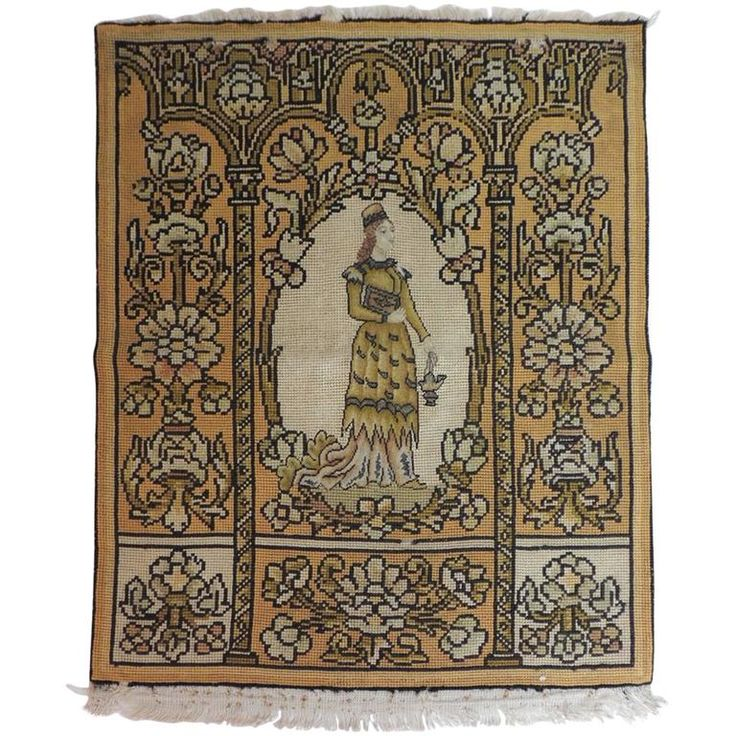 19th Century Medieval Theme Yellow and Gold Tapestry | From a unique collection of antique and modern tapestries at https://www.1stdibs.com/furniture/wall-decorations/tapestry/