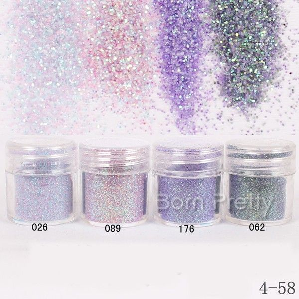 $1.96 1Box 10ml Purple Pink Glitter Powder Super Fine Powder Sheets Tips Nail Art Decoration - BornPrettyStore.com