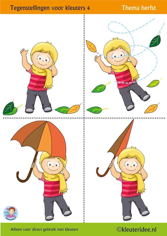 Tegenstellingen voor kleuters 4, vier bladen, thema herfst,  kleuteridee, Preschool opposites 4,  free printable.