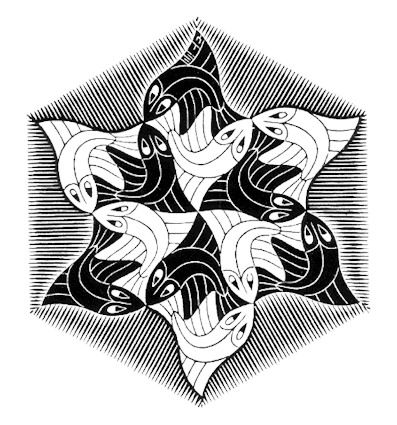 Hexagonal Fish Vignette - M.C. Escher