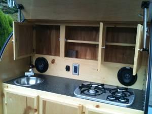 Kitchen setup teardrop camper ideas and designs for Teardrop camper kitchen ideas