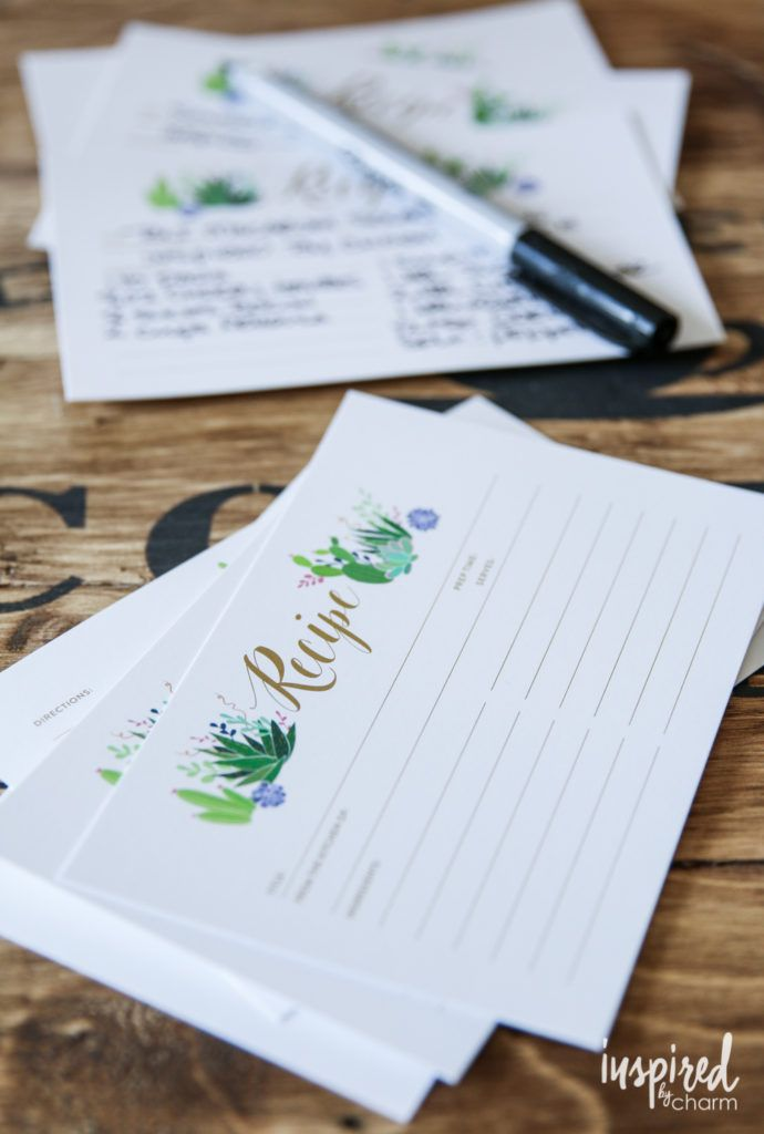 Summer Recipe Card Printable   inspiredbycharm.com