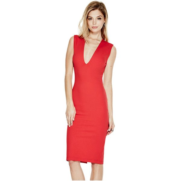 GUESS Jules Backless Midi Dress ($45) ❤ liked on Polyvore featuring dresses, sleeveless dress, guess dresses, red backless dresses, calf length dresses and red sleeveless dress