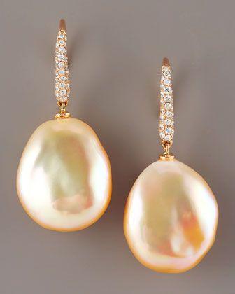 Assael Diamond & Pearl Earrings, Peach - Neiman Marcus