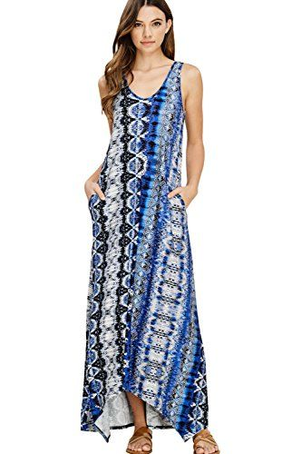 04ccab66df1a4 The perfect Annabelle U.S.A Annabelle Women's Casual V Neck Sleeveless Tank  Top Long Maxi Dresses with Pockets womens dresses.