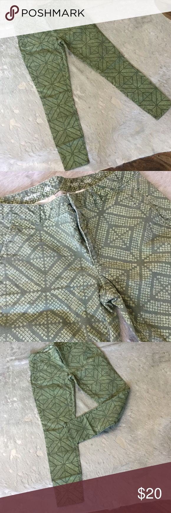 Colorful Tribal Print Skinny Khaki Jeans Green and Yellow Tribal Print Khaki Skinny Jeans.  Comfy and super cute. Great for casual day at work or weekend excursions. Cotton and Spandex blend so there is a stretchiness to the pants. GAP Jeans Skinny