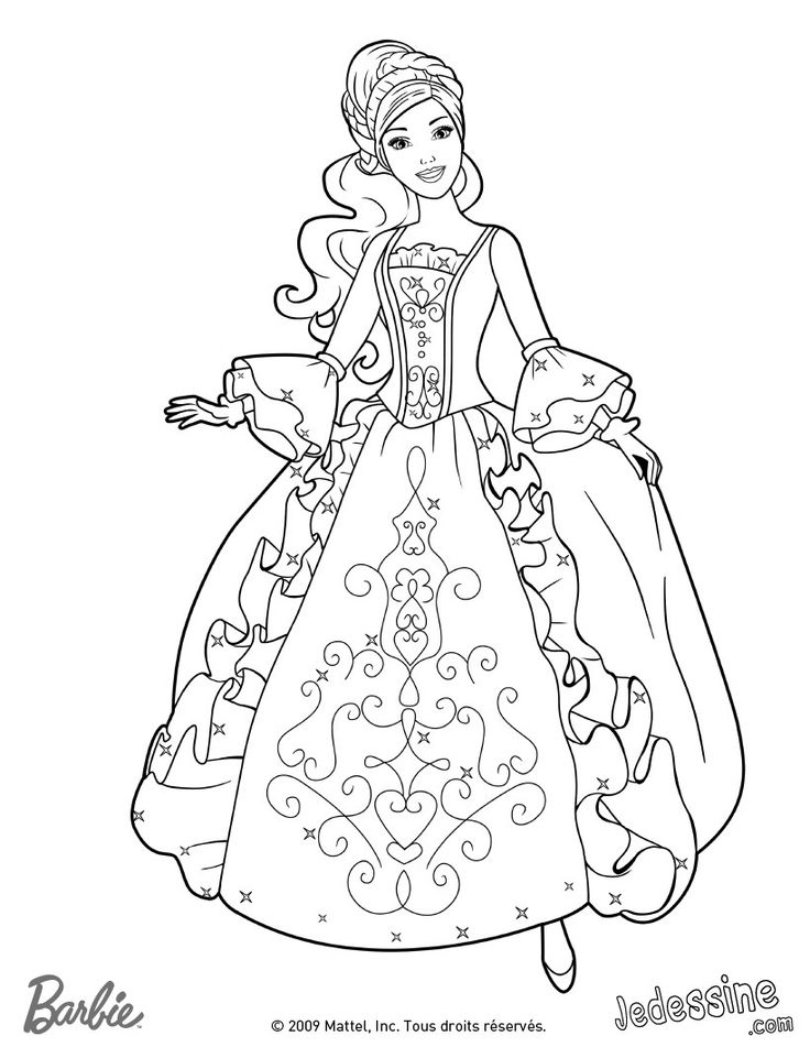 Print Barbie Princess Coloring Pages